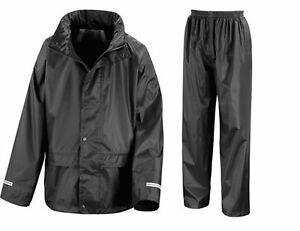 Childs Waterproof Jacket & Trousers Rain Suit Rainsuit Kids Childrens Boys Girls