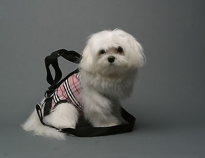 Pink black white plaid small dog carrier harness sling puppy purse S,M, L, XXL