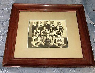 Vintage Grain Painted Picture Frame & Vintage Sunoco Men's Basketball Team Photo
