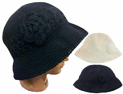 WHOLESALE 12 PCS Fashion Beanie Knit Bucket Bowler Hat with Flower- only Black - Wholesale Derby Hats