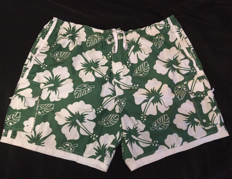 Faded Glory Mens Green Floral Board Shorts 3XL Summer Beach Shorts