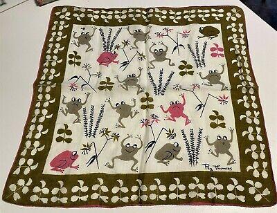 Frogs Vintage Handkerchief;  Artist Signed Peg Thomas