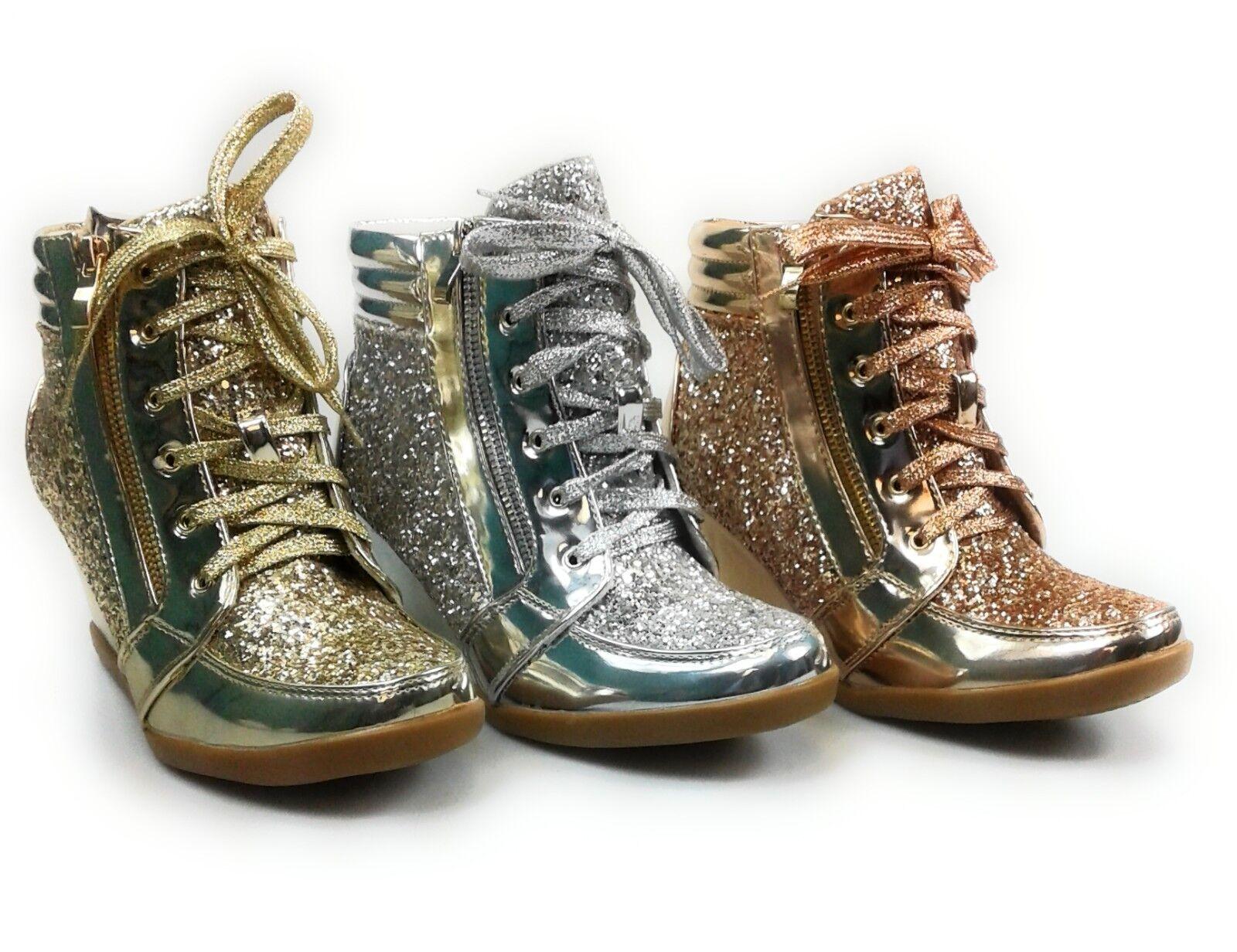 Womens High Top Metallic Glitter Wedge Sneaker Bootie Foreve