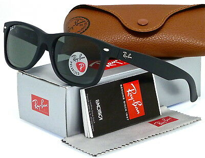RAY-BAN NEW WAYFARER RB2132 622/58 55MM MATTE BLACK RUBBER l POLAR GREEN (Ray Ban New Wayfarer 622)