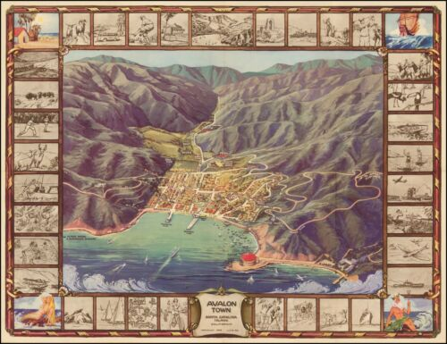 Avalon Town Santa Catalina Island California 1948 Pictorial Map 48283