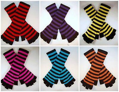 Gothic Gloves ( Striped Stripey Long Magic Unisex One Size Fingerless Gloves Emo Gothic Punk)