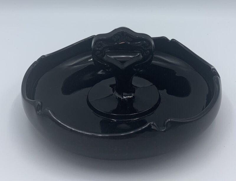 VINTAGE BLACK AMETHYST GLASS ASHTRAY ~  ART DECO ~ CANDY NUT DISH ~ ROUND~
