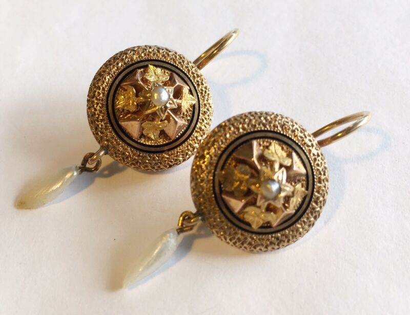 Antique Victorian 14k Pierced Earrings With Black Tracery Enamel & Pearls