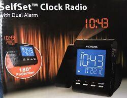 Magnasonic Projection Alarm Clock Radio with Battery Backup & Dual Alarm