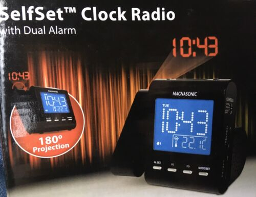 projection alarm clock radio with battery backup