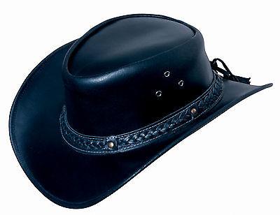 Hut Australien (Lederhut GRATIS ZUGABEN Westernhut Cowboyhut Australien Hut Hüte Schwarz S-XL )