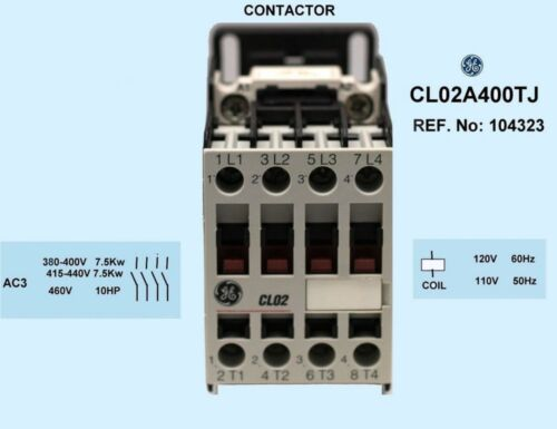 GE Industrial CL02A400TJ 4-pole, 17.5 AMP contactor with a 120 volt AC coil💥