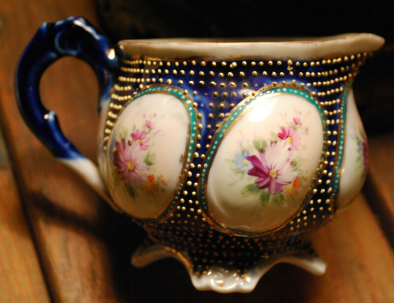 Antique CREAMER c1889 Nippon Porcelain GOLD MORIAGE Beads Hand Painted Flowers