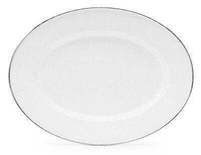 Golden Rabbit Enamelware Large Oval Serving Platter White Tray Factory Second