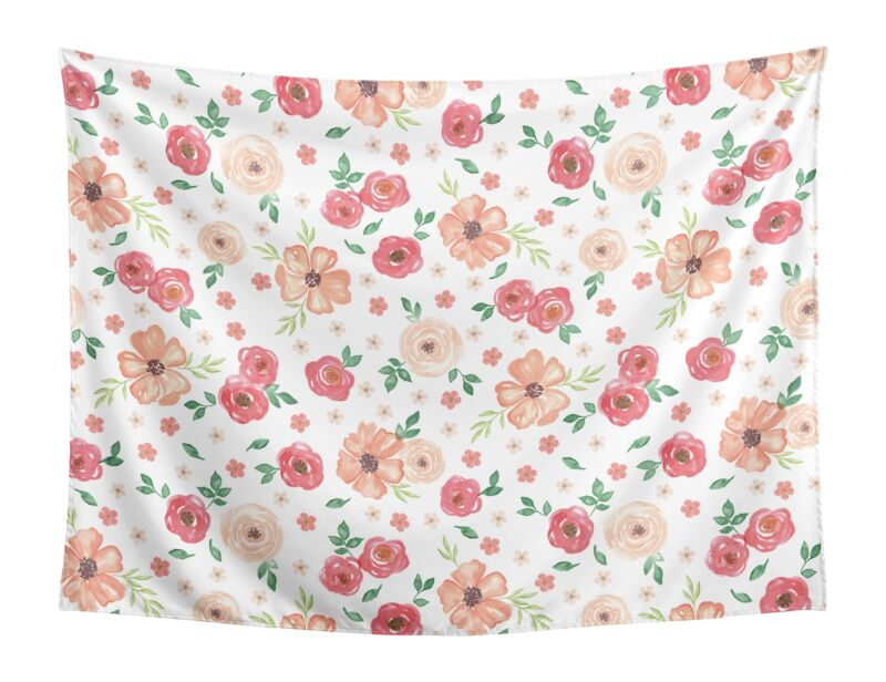 Peach Green Watercolor Floral Shabby Chic Wall Hanging Tapestry Art Room Decor