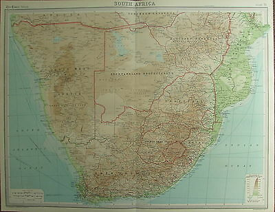 1922 LARGE ANTIQUE MAP ~ SOUTH AFRICA CAPE COLONY ORANGE FREE STATE BECHUANALAND
