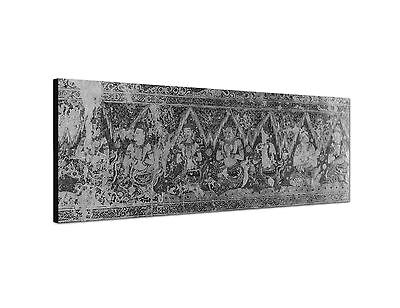 Land-malerei (150x50cm Panoramabild Schwarz Weiss - antike Tapete Tempel Thailand Malerei)