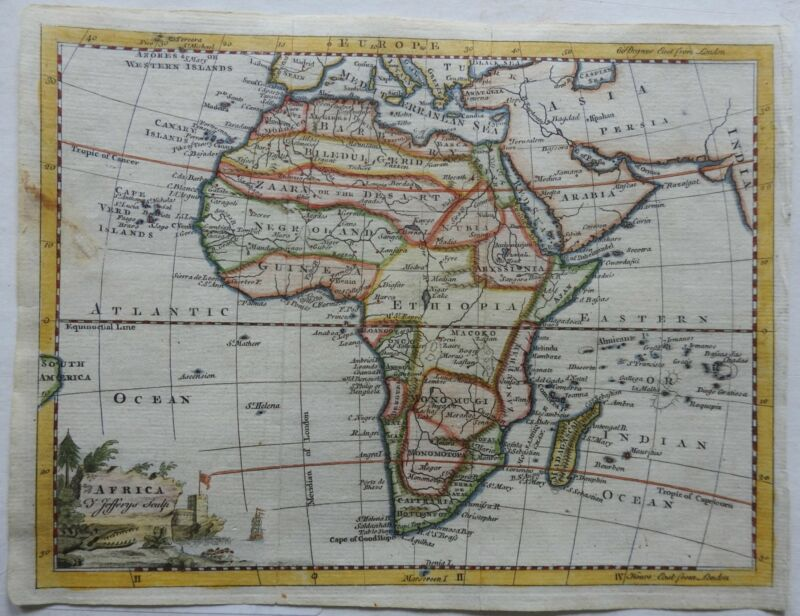 African Continent Egypt Morocco Guinea Ethiopia Natal c. 1755-6 Jeffereys map