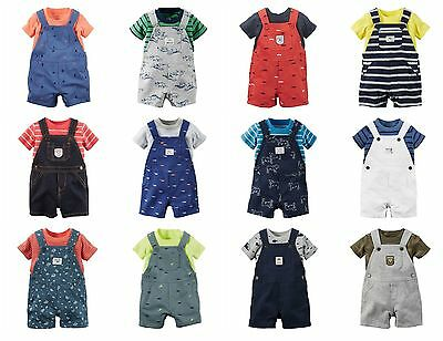 NWT $28 Carters Infant Boys 2-Piece Shortalls Outfits Overall Shorts NB-24 Mo.   2 Piece Overall Short