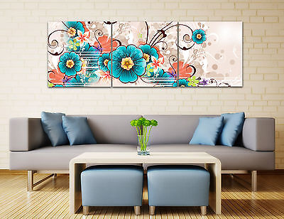 Turquoise Flowers Abstract Wall Decor Art Pictures Painting Canvas NO frame US