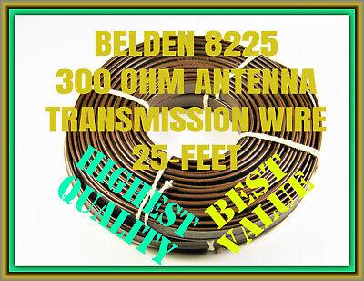 ANTENNA WIRE 300 OHM, BELDEN 8225 TWIN-LEAD TRANSMISSION, RADIO / TV, 25-FEET