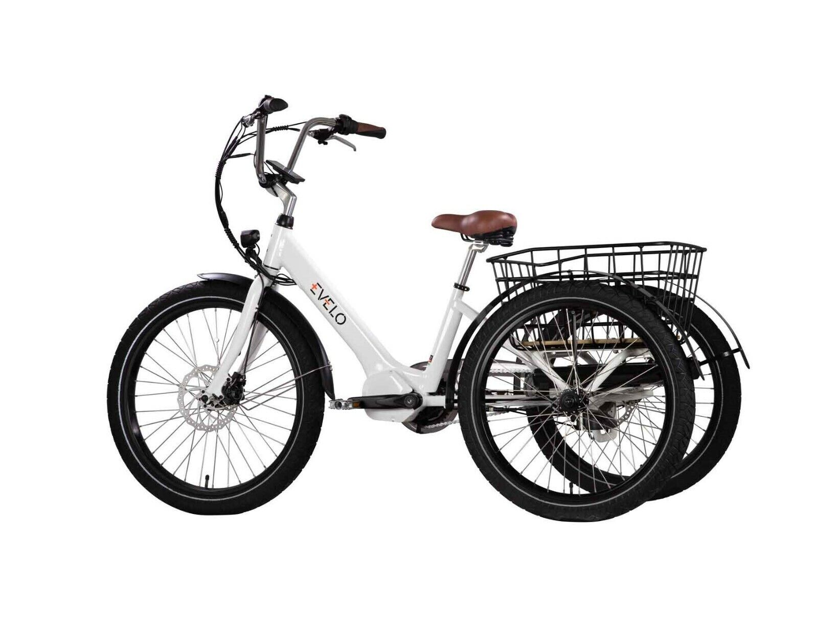"""NEW EVELO Electric Adult Tricycle 3 Wheeler 24"""" 3 Speed 48V"""