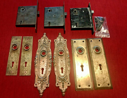 ANTIQUE LOT OF RUSSELL & ERWIN BRONZE FACE PLATES AND MORTISE LOCK SETS WOW!!