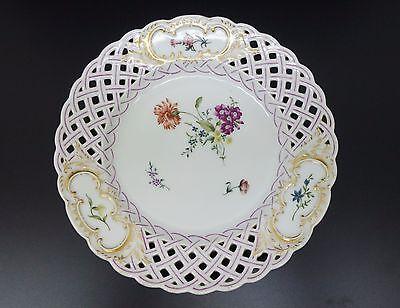 Teller Durchbruch-Porzellan handbemalt 19. Jh. porcelain plate 19thC
