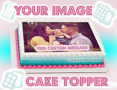 EDIBLE CAKE IMAGE Cake Topper PHOTO LOGO CUSTOM BIRTHDAY Design Frosting Sheet (Custom Cake Topper)