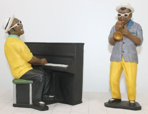 2 1995 Enseno Jazz Players Piano Trumpet Appearance Paris Modele Depose Statues