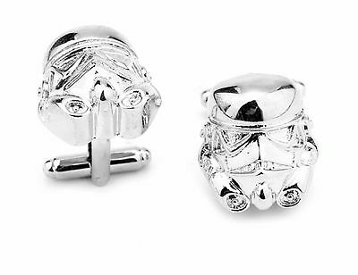 Silver Plated Star Wars 3D Storm Trooper Cufflinks Cuff links Darth Vader Movie