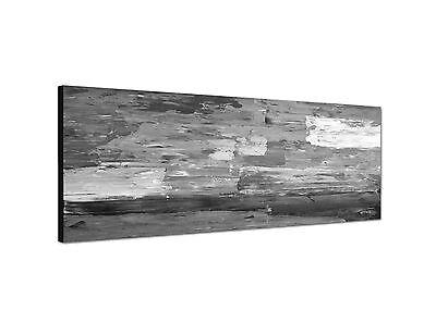 150x50cm Panoramabild Schwarz Weiss - abstrakte Kunst dicke Pinselstriche