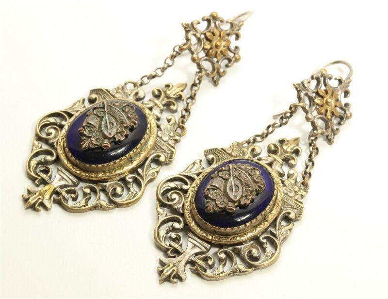 Vintage Art Deco Gold Tone Ornate Floral Chandelier Glass Dangle Hook Earrings
