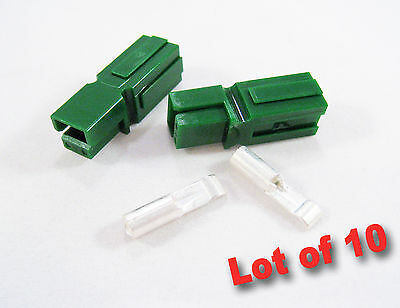 Anderson Powerpole 30amp Lot Of 10 Acdc Electrical Connectors Green Housing