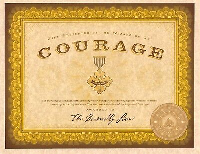 Wizard Of Oz Emerald City Certificate Of Courage   Cowardly Lion   Prop Replica