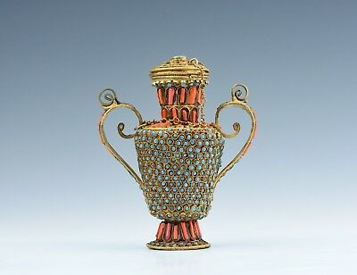 An Antique Chinese Tibetian Coral & Tourquiose Inlaid Vase & Cover