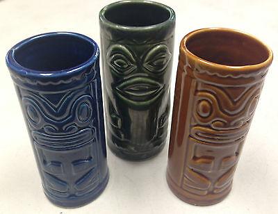3 Tiki Tumblers Hawaiiana Hawaii Shonfelds USA Drinking Glasses Blue Brown Green