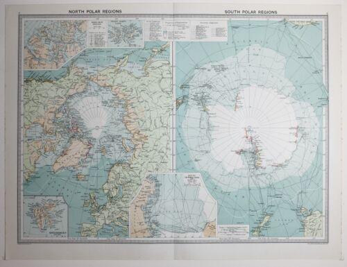 1920 LARGE MAP NORTH & SOUTH POLAR REGIONS VICTORIA LAND SPITZBERGEN FRANZ JOSEF