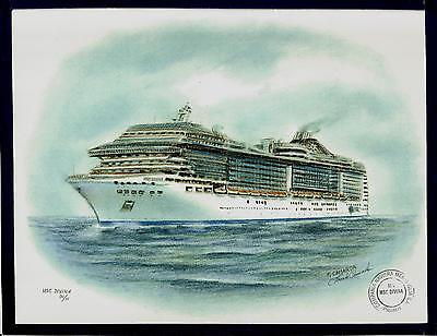 Original Art Work  Msc  Divina  Msc Cruises  Cruise Ship W Ships Official Stamp