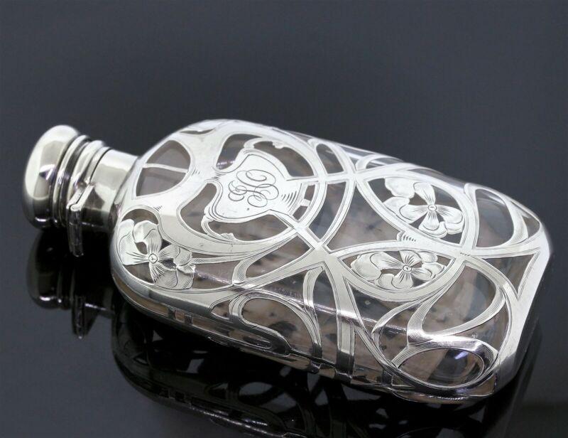 Antique J.E. Caldwell & Co. Glass & 999 Fine Silver Overlay Flask