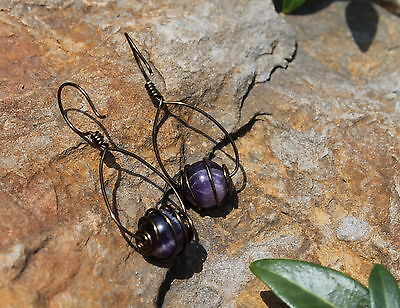 Amethyst Gemstone Earrings Burnished Copper Wire Wrapped Bead Dangle Hoop on Rummage