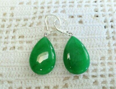 Beautiful Green Jade Tear-Drop Earrings on Silver Lever-backs
