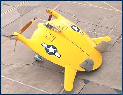 Rc Plans Chance Vought V 173 Flying Flapjack Electric Span 36  Unusual Build