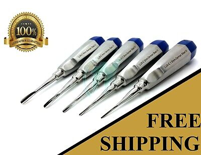 German 5 Pcs Curved Dental Surgery Extraction Luxating Elevator- Blue