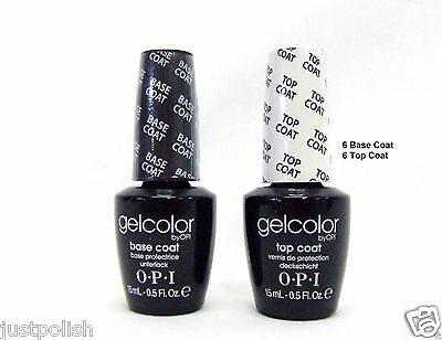 OPI GelColor Soak off Nail Polish Gel Color 6 Base Coat  + 6 Top Coat  ~12ct~