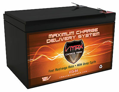 VMAX64 12V 15Ah Altered Electric Skateboard M6 800 AGM SLA Battery Upgrades 12ah