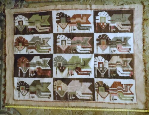 Antique Native American blanket Hopi yei rug pictograph mayan pictorial carpet