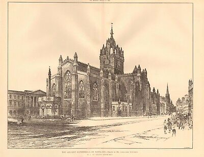 1893 ANTIQUE ARCHITECTURAL PRINT- CATHEDRAL-EDINBURGH,ST GILES, DRAWING, MCGIBBO