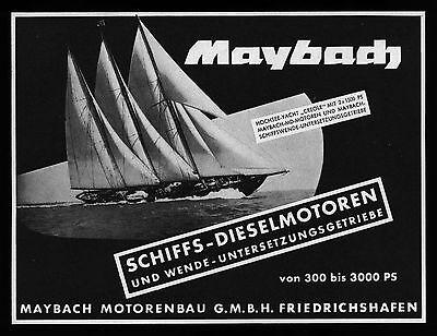 Grosse Werbung 1956 Hochseeyacht CREOLE Maybach Schiffs-Dieselmotoren