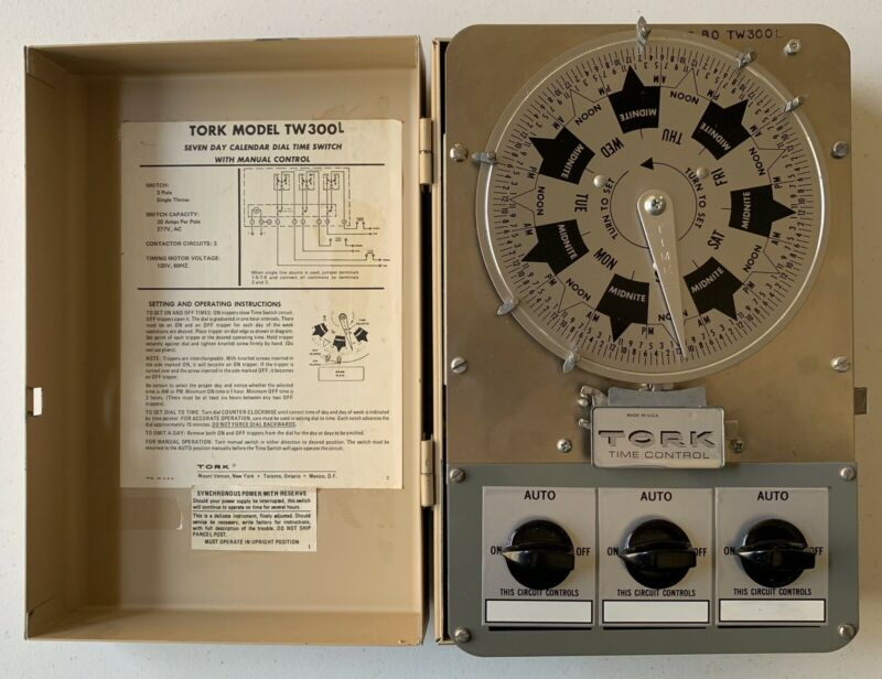 Tork TW300L 7 Day Calendar Dial 3 Pole Single Throw 120V 60Hz Time Control Clean
